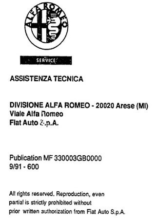 Service and repair manual for Alfa Romeo 33