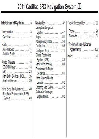 Instrukcja obsługi systemu nawigacji Cadillac SRX 2011