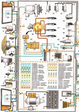 Electrical wiring diagrams for VAZ-2108 «LADA Samara»