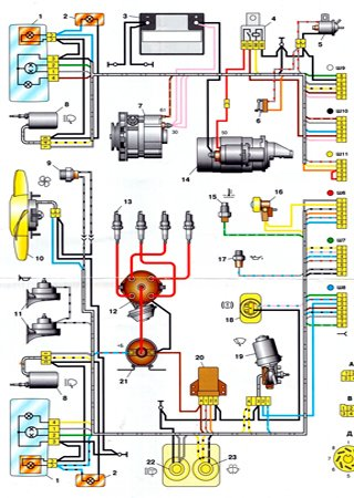 Electrical wiring diagrams for VAZ-21074 «Zhiguli»