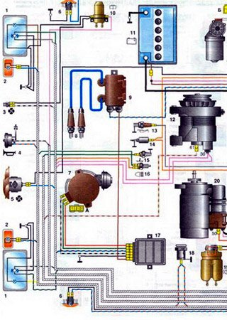Schematy elektryczne VAZ-1111 «Oka»