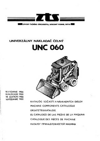 Spare parts catalogue for mini loader Detva UNC-060