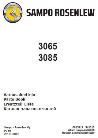 Spare parts catalogue for grain harvesters Sampo-Rosenlew SR 3065 / SR 3085