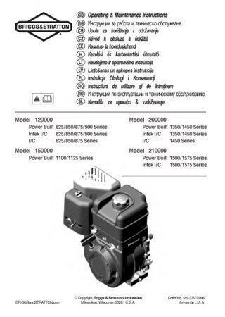 Operation and maintenance manual for engines Briggs and Stratton 120000 / 150000 / 200000 / 210000