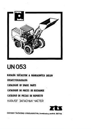 Каталог запчастей фронтального погрузчика Detva UN-053
