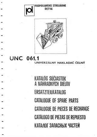 Каталог запчастей мини-погрузчика Detva UNC-061.1