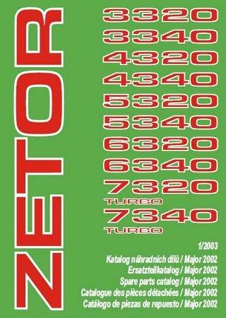 Каталог запчастей тракторов Zetor 3320, 3340, 4320, 4340, 5320, 5340, 6320, 6340, 7320 Turbo, 7340 Turbo