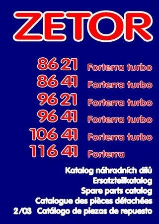 Каталог запчастей тракторов Zetor Forterra 8621, 8641, 9621, 9641, 10641, 11641 Turbo