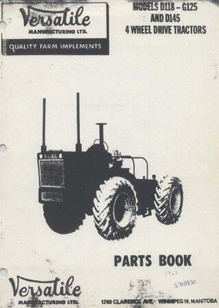 Каталог запчастей тракторов Versatile G125, D118, D145