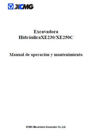 Руководство по эксплуатации и обслуживанию гидравлических экскаваторов XCMG XE230 / XE250C