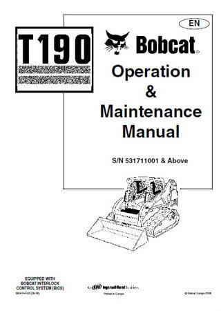 Мини-погрузчик Bobcat T190: Руководство по эксплуатации и обслуживанию