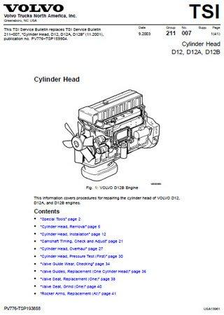 Руководство по обслуживанию двигателей Volvo D12, D12A, D12B
