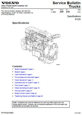 Руководство по обслуживанию двигателей Volvo D12D