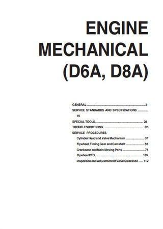 Руководство по обслуживанию двигателей Hyundai D6A, D8A