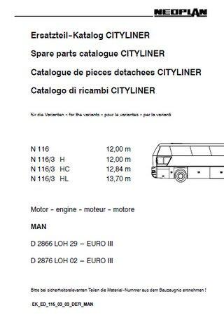 Каталог запчастей автобусов Neoplan N116 (3H, 3HC, 3HL) Cityliner