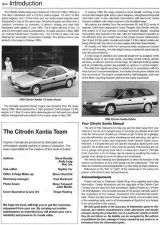 Service and repair manual for Citroen Xantia (1993-1998)