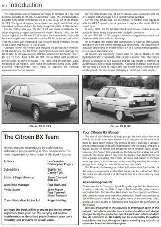 Service and repair manual for Citroen BX (1983-1994)