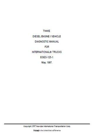 Руководство по обслуживанию двигателя Navistar (International) T444E